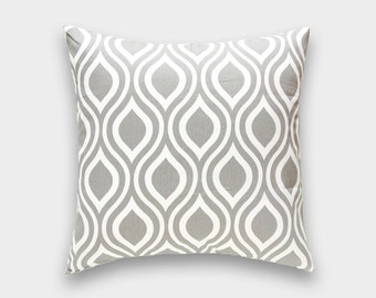 CLEARANCE 50% OFF Storm Gray Nicole Pillow Cover. 20X20 Inches. Storm Gray and White Decorative Cushion Cover
