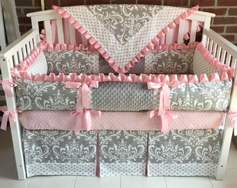 Crib bedding Pink Gray Damask,  Choose from 2-5 pieces