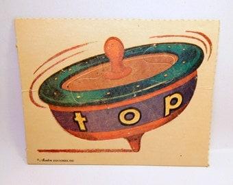 Vintage Children's Spelling Puzzle / TOP / 1960s / Avalon Industries - U.S.A. / Beginning Reading - Primary / School / Teacher
