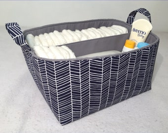 "XLA Diaper Caddy with 2 Sections 13""x11""x7"" Fabric Storage Organizer, Basket, Navy/White Herringbone with Choice of Solid Lining Color"