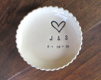 wedding ring dish, Large ring holder, Gift for Couples, Scalloped  initial tray,  Black and White,  Made to Order