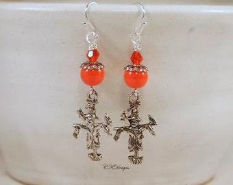 Scarecrow Halloween Earrings, Harvest Earrings, Orange Beaded Earrings, Dangle Pierce Earrings. Day Of The Dead Earrings, CKDesings.us