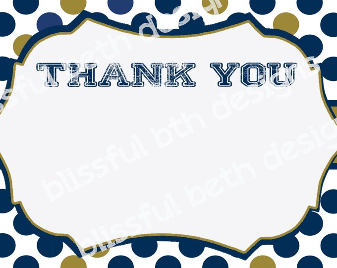 Blue and Gold Thank You, Blue and Gold Thank You Notes, Instant Download, Thank You Note, Notre Dame, Instant Thank You Note,