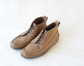 Vintage LL Bean Light Brown leather Hiker Mens Ankle Boots size 8 1/2 D