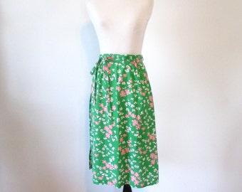 Vintage 1970's Green Floral Wrap Tie Skirt Size Large
