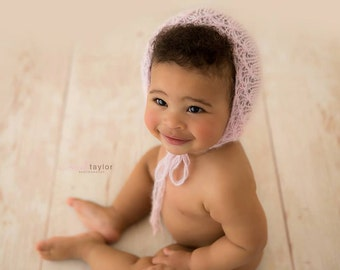 PDF Knitting Pattern - SITTER_6-9 months and 9-12 months tiny flowers bonnet only #4S