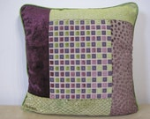 Bespoke Unique DESIGNER FABRIC PATCHWORK cushion cover in plum purple and apple green 40cm / 16 inch accent cushion cover by MoGirl Designs
