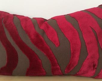 ZEBRA cut velvet ACCENT cushion cover in dark CRIMSON pink velvet on chocolate linen by Designer Guild -Lumber pillow sham / Rectangle cover