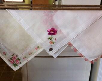 Vintage 50's Handkerchiefs Set of Three Pink Rose Floral