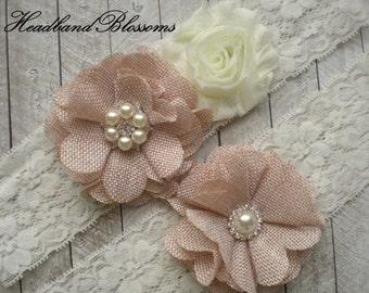 BEST SELLER - Bridal Garter Set - Keepsake & Toss Garters - Burlap Chiffon Flower Pearl Lace Garters - Ivory Cream - Rustic Country Wedding