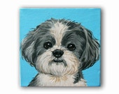 "Custom Pet Portrait / Custom Dog Portrait /Custom Portrait -1 Pet Close-Up Solid background(3x3x1.5"") Gallery Style"