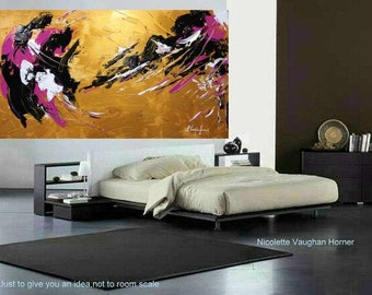 """Original 48"""" gallery canvas Abstract painting,Original comtemporary Art,lots of texture Ready to hang  by Nicolette Vaughan Horner"""