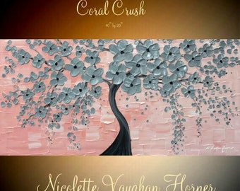 """Original 40"""" gallery canvas Acrylic Blossom Tree Of Life  Pretty pinks and greysby Nicolette Vaughan Horner"""