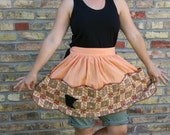 Women's Upcycled Vintage Statement  Half Apron - Minnesota: reused, repurposed, reprinted, Mystery Apron