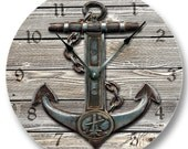 Anchor on Weathered Boards wall CLOCK - beachy and nautical printed image - 7110