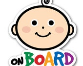 Baby on Board Sticker . Vinyl Decal for Baby Safety . Weather and Wash proof . High Quality Laminated Shape Cut Stickers . Easy Application