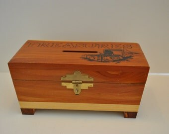 Vintage TREASURE CHEST BOX Wood Bank Party Decor Pirate