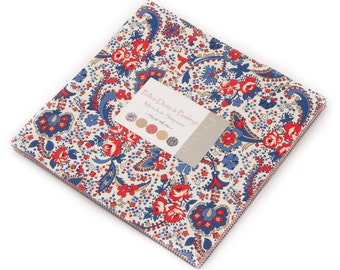POLKA DOTS & PAISLEYS  Moda Layer Cake fabric 42 10 inch squares 14800Lc Polly Minick Laurie Simpson red blue tan cream