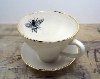 Back in stock in June** Honey Bee White and Gold Porcelain Tea Cup & Saucer or Mug-Wedding Gift, Gift for Mom, Hostess Gift