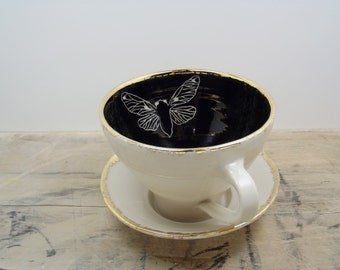 Cicada Black, White and Gold Porcelain Tea Cup & Saucer or Mug-Hostess Gift, Steampunk Gift, Goth Gift, Insect Art