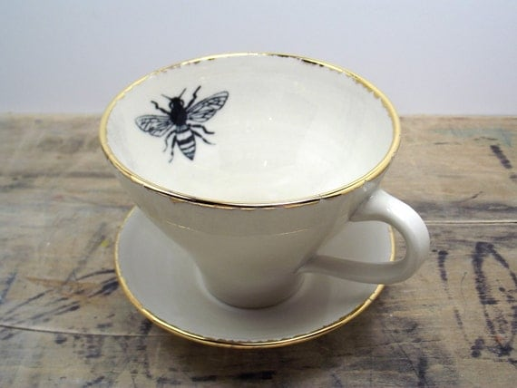 Honey Bee White and Gold Porcelain Large Tea Cup & Saucer