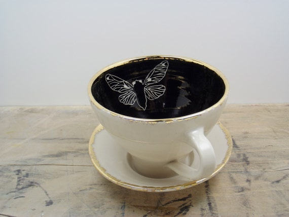 Cicada Black, White and Gold Porcelain Large Tea Cup & Saucer