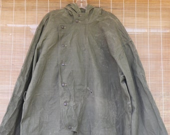 Vintage Army Olive Green Zip Up Button Up Overall With Hood Size XL