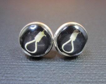 Hangman's Noose Stud Earrings (Silver Tone)