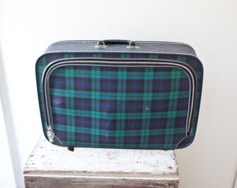 Vintage Plaid Suitcase - Blue and Green Suitcase Suit Case Large Travel Luggage