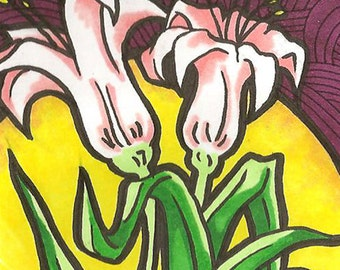 Sunrise Flora, Original Permanent Marker Art on Bristol ACEO Artist Trading Card
