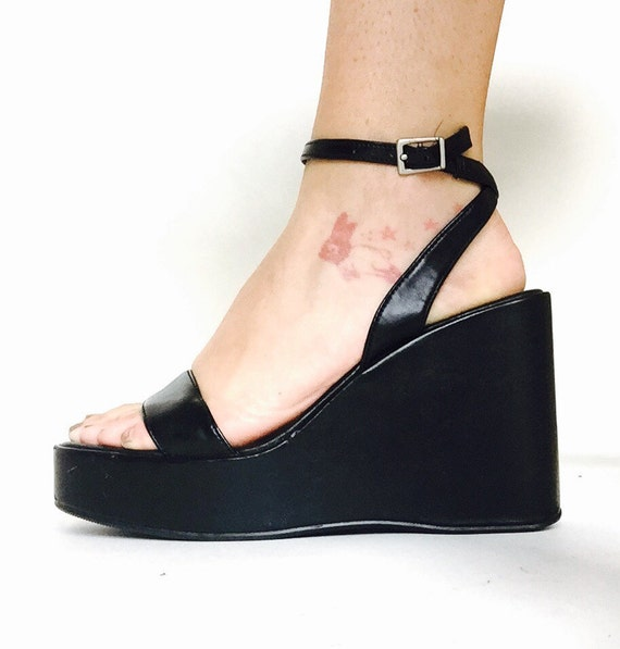 90s Black Strapy Platform Wedge Slingback Sandals