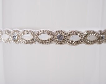 "The ""Hayley"" Wedding Garter with Rhinestones and Moonstone Beading Bling Alabaster Jeweled Garter for Bridal Hayley Paige"