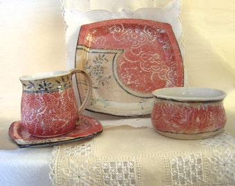 Square Pottery 4 Piece Place Setting, Handbuilt and Thrown Stoneware Coffee Mug, Plates, Bowl, Antique Red, Cream White with Black Accents