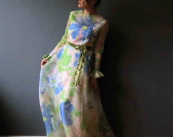 70s Pink Blue Bold Floral Maxi Dress Medium