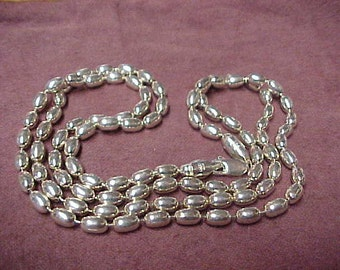 """Vintage Sterling Silver Chain Necklace, 28"""", Continuous Long Beads, Lobster Claw Clasp, 32.3 Gram"""