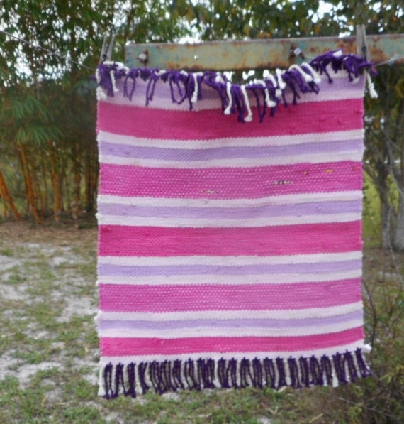 Hot Pink Rag Rug With Violet And Pastel Pink Stripes Hand Woven  With Recycled Fabrics