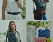 Bag Knitting Pattern K4340 Belt & Bracelet, Shoulder Bag, Slouchy Bag and Purses Knitting Pattern in Raffia King Cole