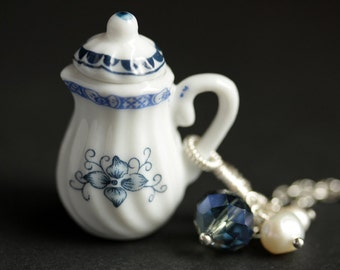 Blue Teapot Necklace. Porcelain Tea Pot Necklace with Blue Crystal and Fresh Water Pearl Charms. Blue Necklace. Silver Necklace.