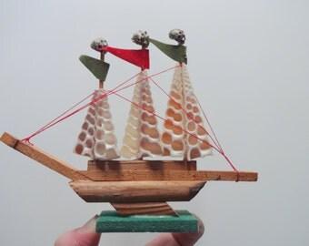 Vintage Miniature Seashell Ship 1970s