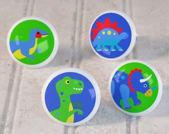 Kids Dinosaur Land Drawer Knobs, Ceramic Drawer Knobs, Decorative Knobs (Singles and Sets of 4), Kids Dino Bedroom Decor, Kids Nursery Decor