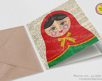 Matryoshka doll Square Greeting Card with envelope-Funny matryoska doll card-russian doll card-babushka doll card-by NATURA PICTA NPSGC014