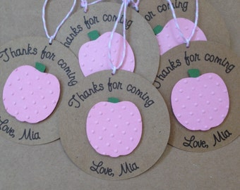 Pumpkin Thank You Tags or Cupcake Toppers on Kraft Paper, Thank You Tag for Halloween Party or Birthday Party, Set of 8