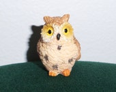 Mini Brown Owl Figure - Dollhouse miniature