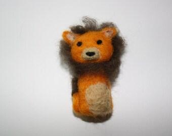 miniature lion needle felted sculpture