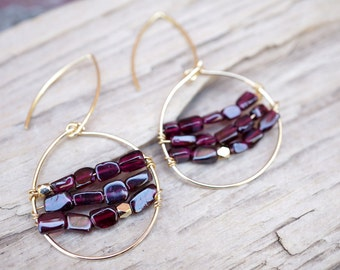 Garnet Gold Wire Wrapped Earrings - Gold Hoops