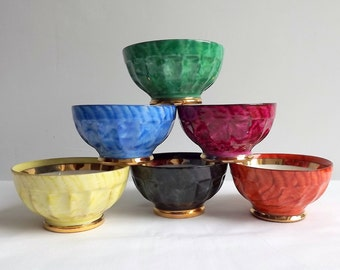 Small French porcelain bowls - a set of 6 in bright colours