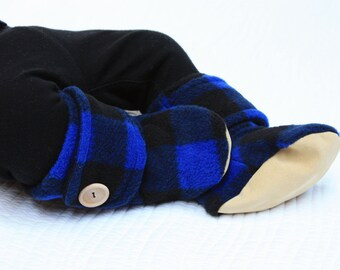 Black and Blue Baby Booties in Buffalo Plaid with Leather Sole