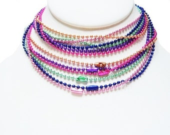 Six Pack - 27.5 Inch,  Mixed Colors, Ball Chain, Easy Pendant Add on Ball End Closure, Pink, Hot Pink, Blue, Light Green, Purple, Gold