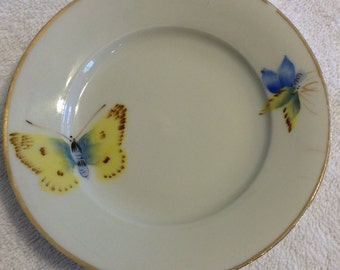 ANTIQUE BUTTERFLY Coffee / Tea Saucer with Butterflies gold trim