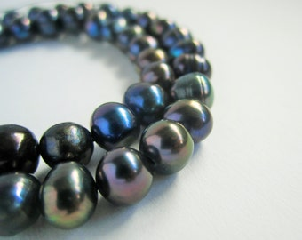 "14"" strand of 7-8mm dark navy blue midnight blue potato freshwater pearls beads"